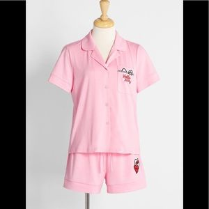 Women's girls pink Hello Kitty shorts set pajamas